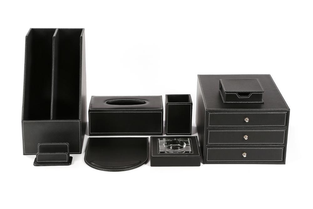 Zwart office organizer luxe lederen bureau set voor gift buy zwart