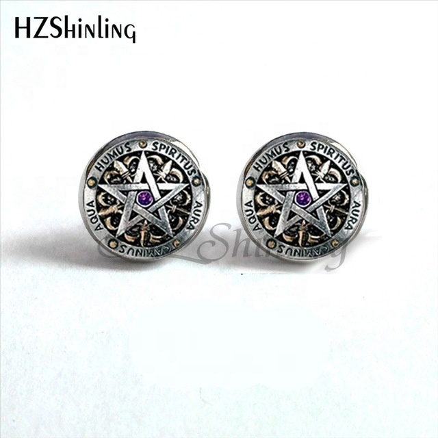 Fashion Wiccan Ear Nail Magic Wicca Pentagram Ear Studs Occult Stud Earrings Jewelry Glass Cabochon Earrings For Women Girls фото