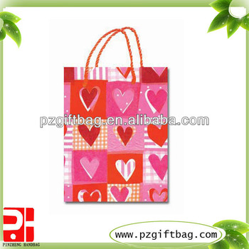 brand boutique shopping paper bags for valentine,paper bag with printing