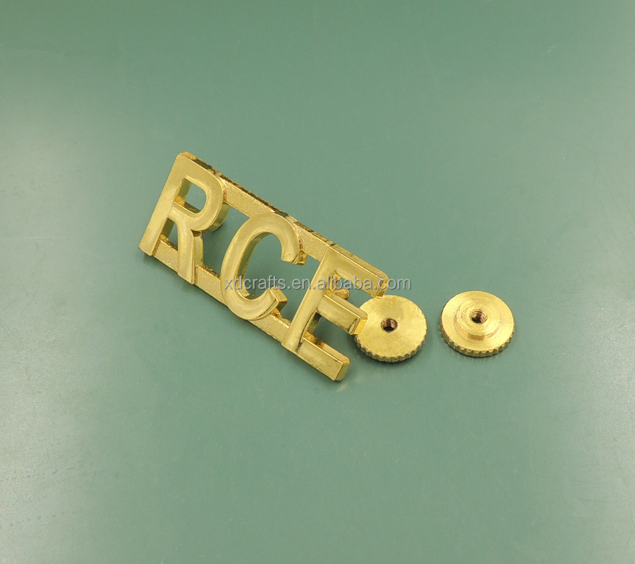 gold plating alphabet die casting metal badges