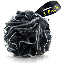 Bath Loofahs Sponge Shower Pouf Body Scrubber Ball Mesh Pouf Bath Sponge 3 Pack