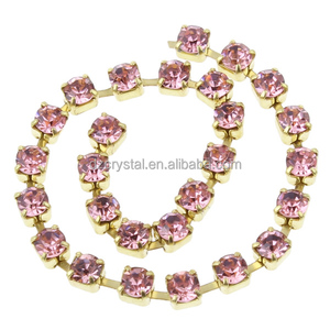 Crystal Diamond Metal Cup Chain With Colorful Rhinestone For Jewelry Accessories