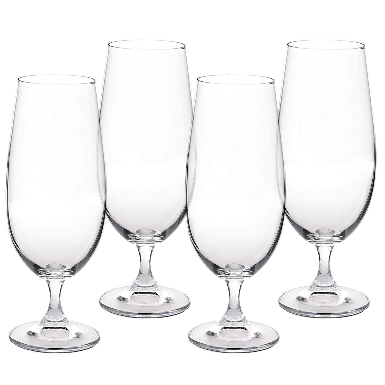 Set of 4 Beer Glasses, 12.8oz (380ml) - Titanium Lead-Free Crystal Glass - Czech Glass