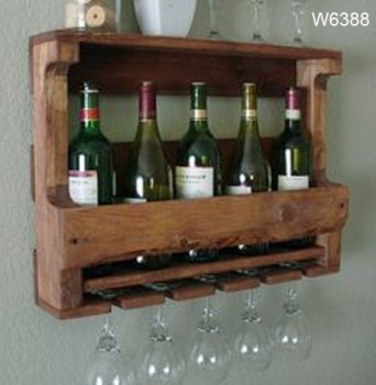 Rustic Wooden Wall Wine Rackantique Style Wooden Wine Bottle And