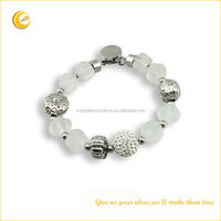 Stainless steel charms jeweled bracelet