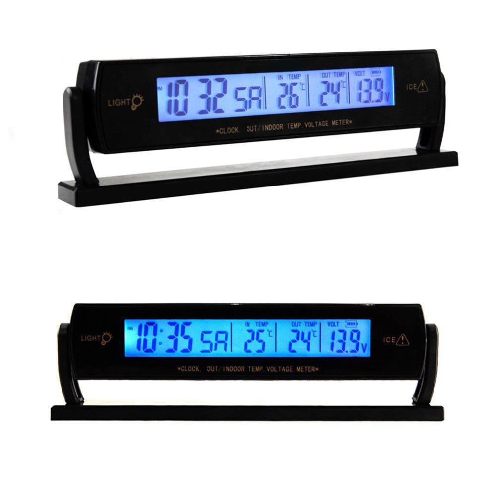 Автоматический автомобиль напряжения цифровой жк-дисплей температуры термометр сигнализация часы