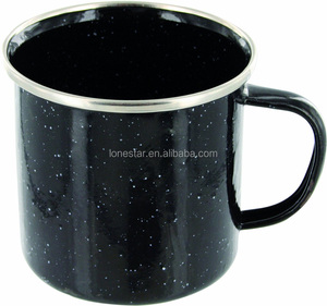 Popular Christmas Camping Enamel Mug Cup with Stainless Steel Rim,Stainless Steel Rim Enamelware Cup