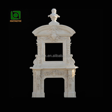 Handcarved Egypt Cream Marble Indoor Fireplace
