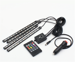 22cm 9 led IR Remote+Wireless Music Control led flexible drl strip light RGB Car led Interior decorative atmosphere Strip Lights