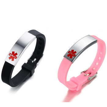 Titanium adjustable silicone logo medical identification bracelet