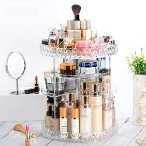 Makeup Organizer 360-Degree Rotating Adjustable Multi-Function Acrylic Cosmetic Storage