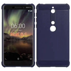 Alpha design brushed metal air cushion shockproof tpu soft case for Nokia 6.1 back cover