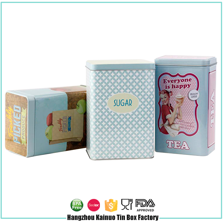 Factory Supplier Cake Box Coffee And Tea Airtight Rectangular Tin Can