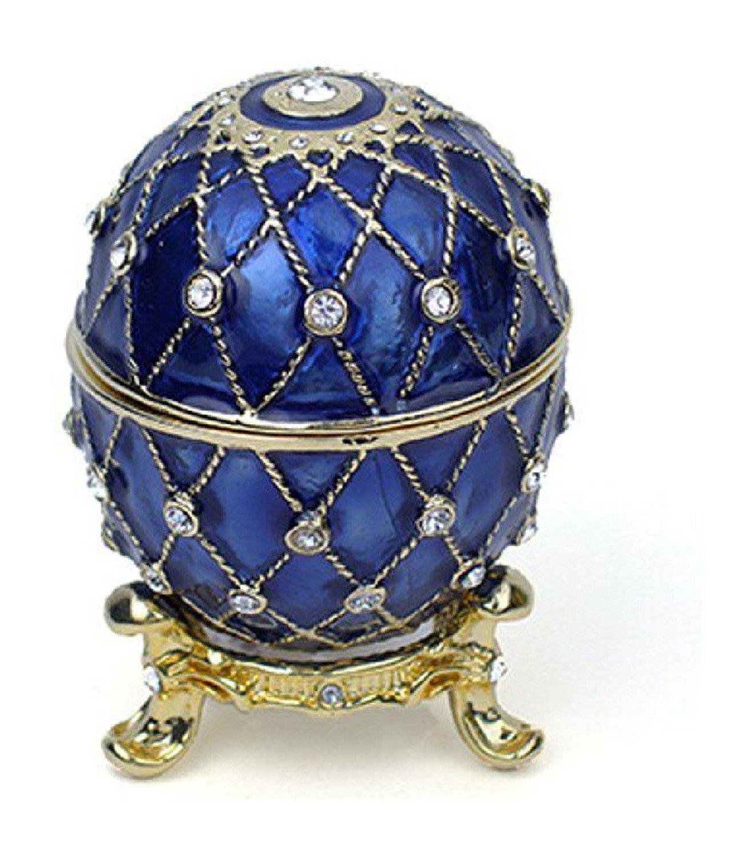 """Gold-Tone Finish Lattice Pattern Cobalt Blue Faberge Style Egg Trinket Box 2.5"""" With Matching Egg Pendant"""