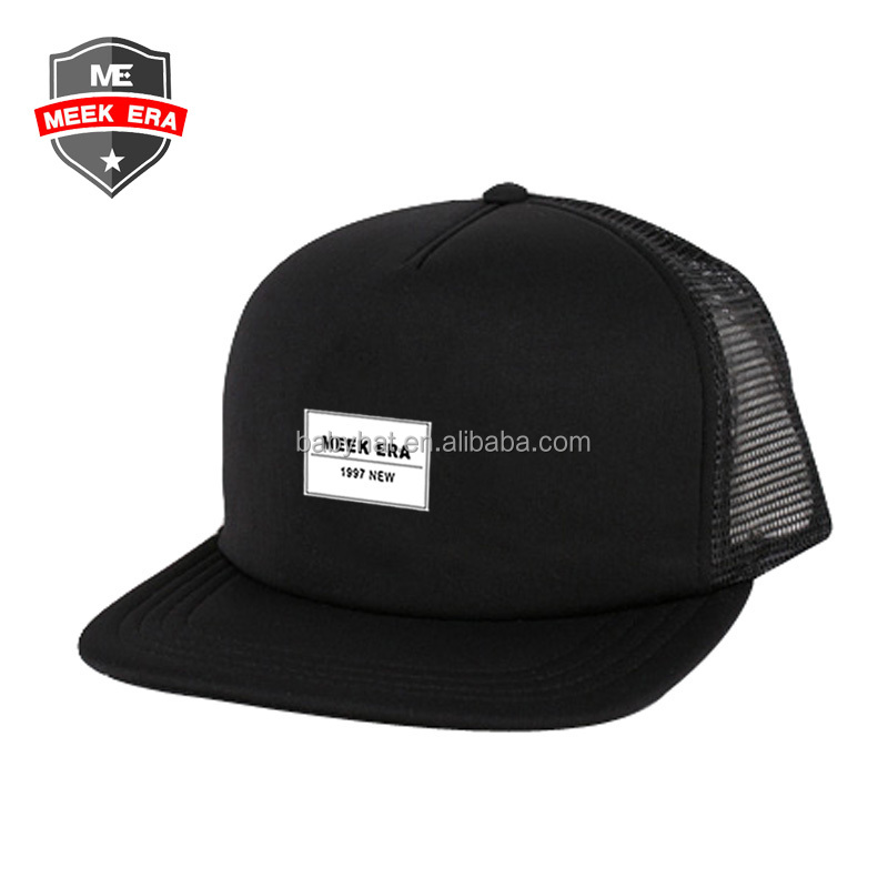 Custom new meek era short bill flat brim foam plain trucker cap mesh hat
