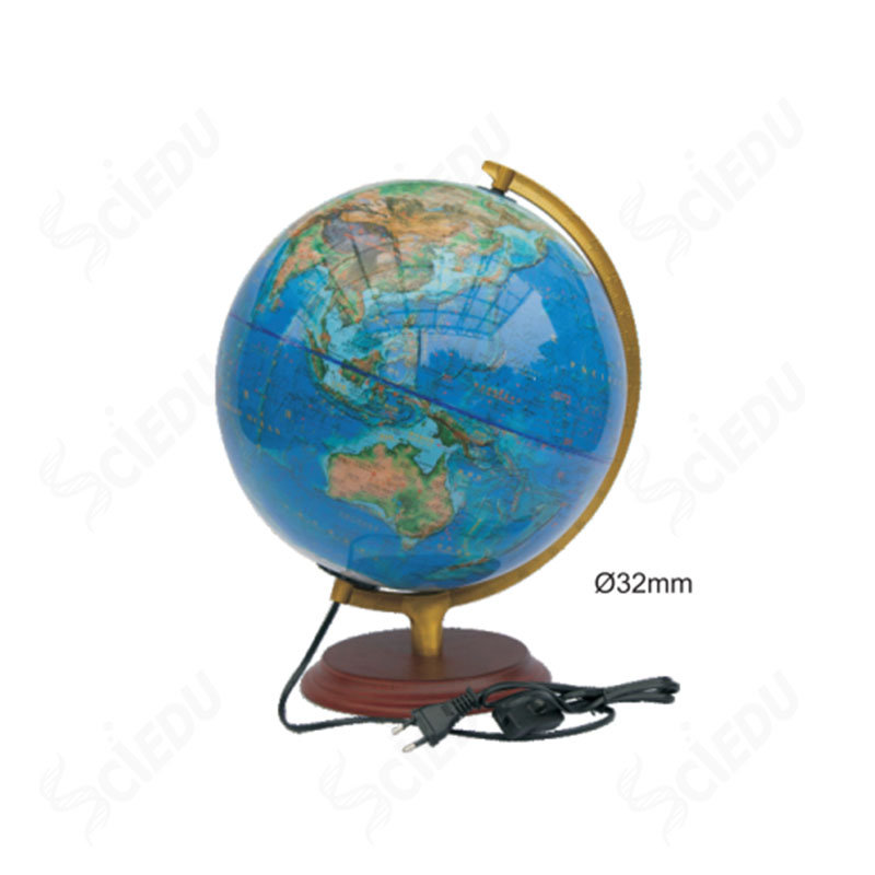 High Quality Educational World Lamp Globe Wooden Base World Globe With Metal Frame
