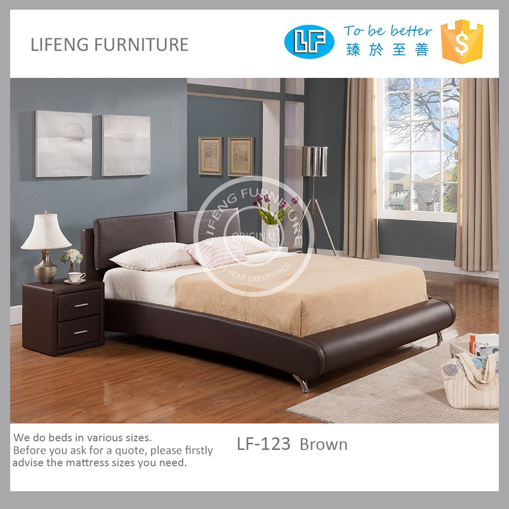 contemporary platform bed upholstered in bond leather,LF-123