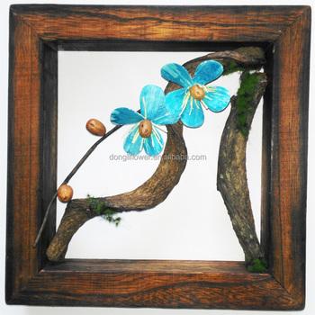 Handmade dried flower hanging wood frame wall decoration for Handmade wall frames ideas