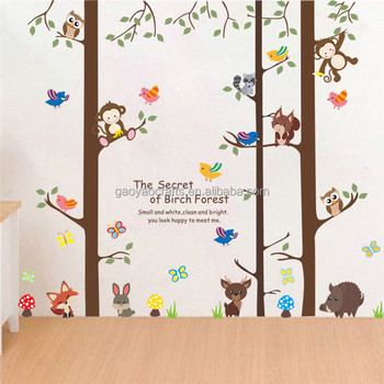 Forest Animals Tree Wall Stickers For Kids Room Monkey Bear Jungle Wild Children Decal Nursery