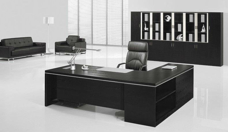 Black office furniture set wooden Executive Desk 7.9ft (FOH-BA24-B