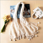Wholesale women's pure white cotton linen sunscreen scarves