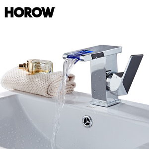 Single handle brass colors basin lavatory hot water bathroom sink faucet led