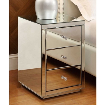 mirrored furniture antique 3 drawer bedside table cabinet