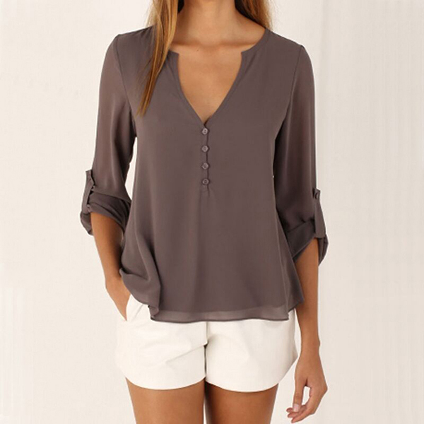 2016 Summer Fashion Women Casual Loose Blouse Ladies Open Front Deep V Neck Sexy Long Sleeve Women Tops And Blouses