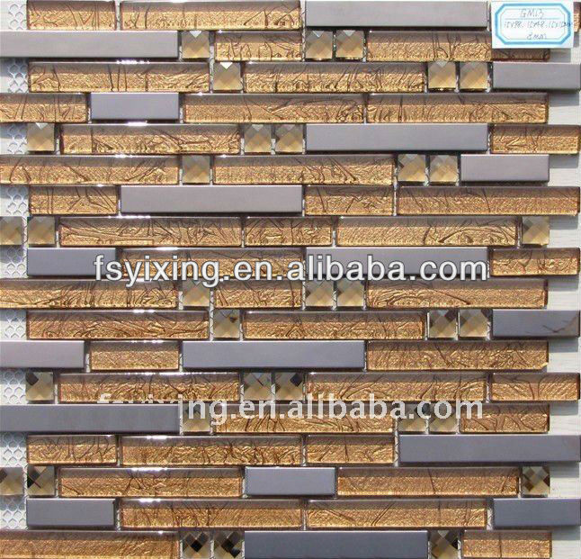 YX-GM13 8mm thickness stainless steel mix glass mosaic for wall and floor decoration, interior wall mosaic pattern tiles