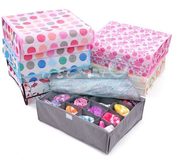 Wholesale 16 grid covered underwear box / classification bra underwear storage box