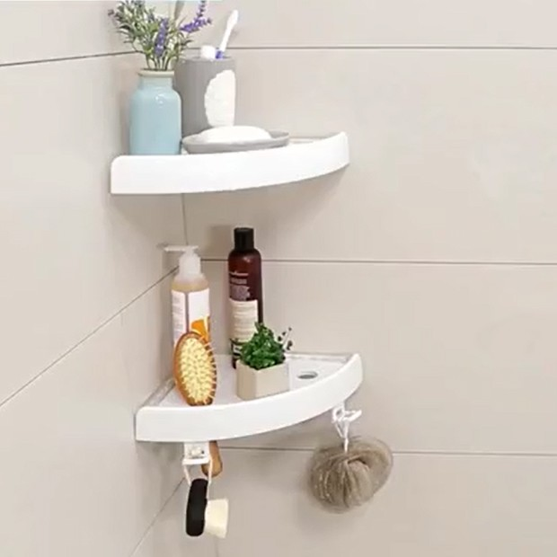 Superb White Color Shower Storage Rack Adhesive Plastic Bathroom Corner Shelf