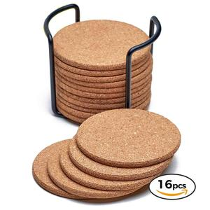 Natural blank Cork Coasters With Round Edge of 16pc Set with Metal Holder Storage Caddy