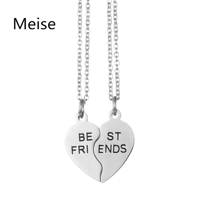 Yiwu Meise 3 Tone Best Friends Pendant 2 Parts Stainless Steel Charming Split Broken Heart Necklace