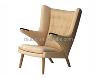 China factory modern wooden chair leather recliner chair