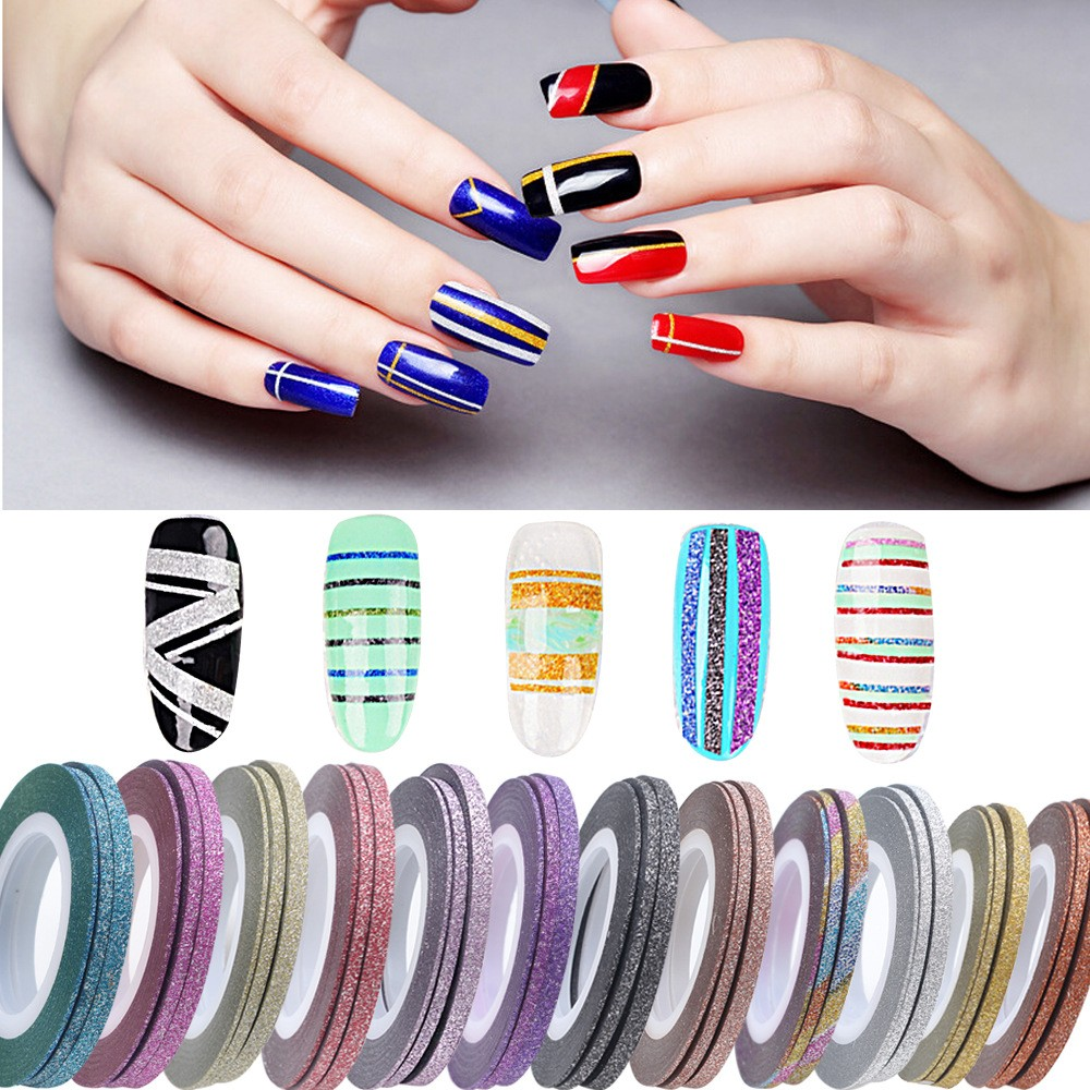 Free sample Beauty New stickers Mixed Colors Nail Rolls Striping Tape Line Nail  polish stickers 3D