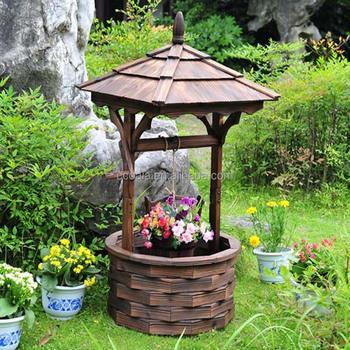 Wooden Wishing Well Bucket Flower Planter Fir Wood Garden Wishing