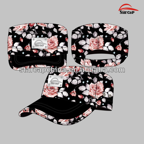 NEW DESIGN CUSTOM FLORAL FABRIC MILITARY CAP WHOLESALE METAL LOGO