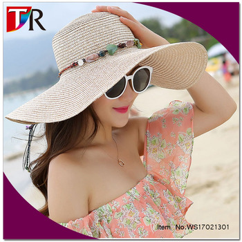 natural stone decorated summer floppy sun hat beach straw hat for women