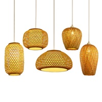 American vintage 240 volts home decor handmade bamboo weave chandelier pendant lamp