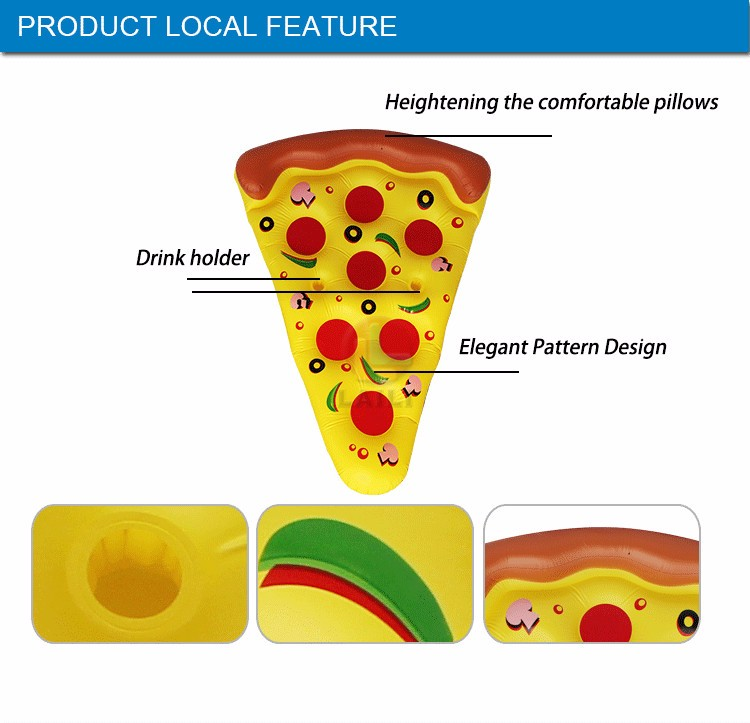 Giant pizza slice float mattress * PVC Air bed inflatable pizza float