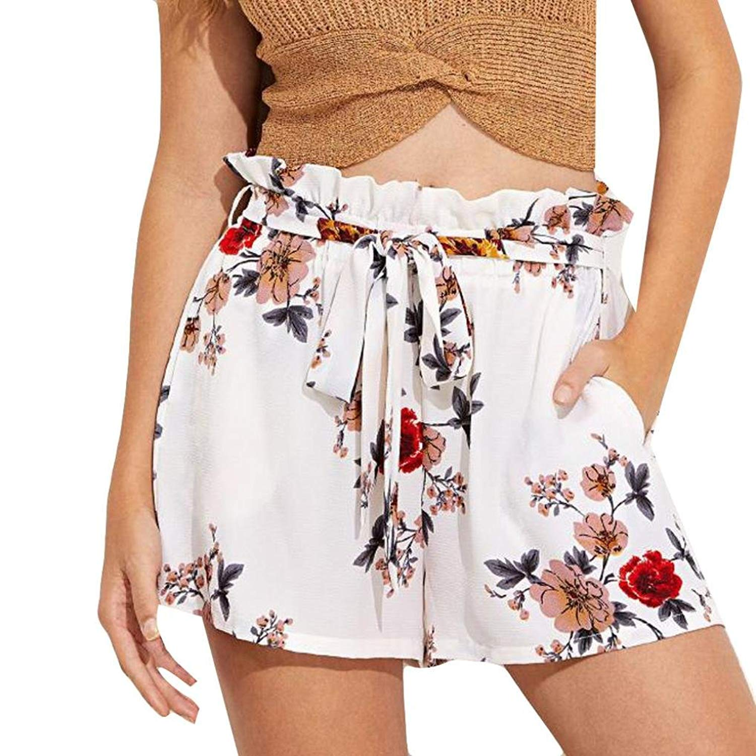 BCDshop_Shorts Women Floral Fashion Belt Shorts Trousers Lady Summer Beach Hot Pants