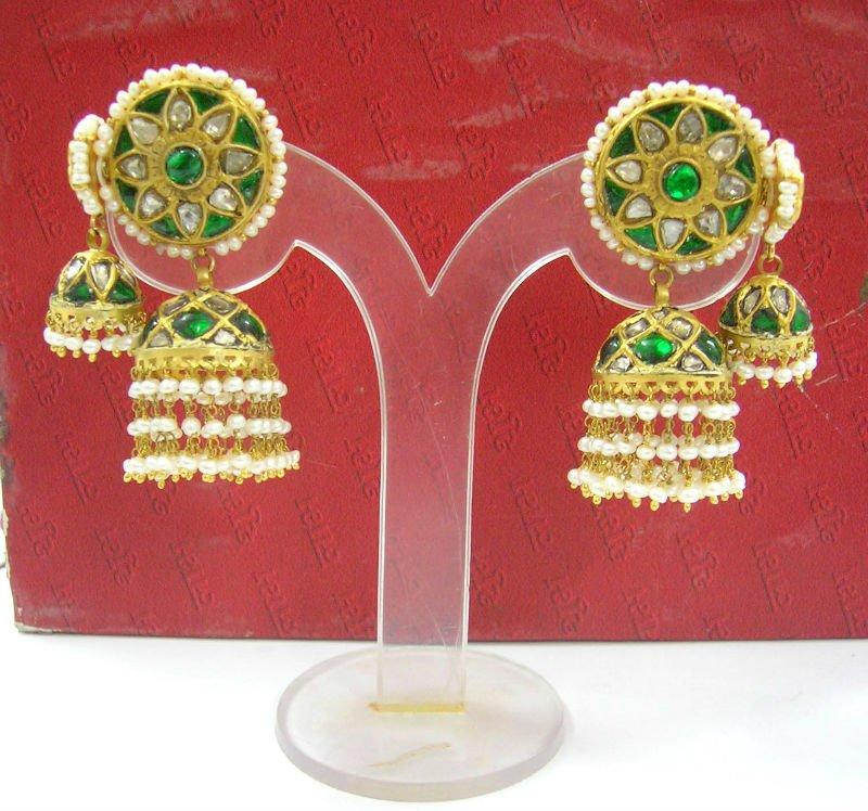 0ba61ac9f0dd2 Polki Meena Diamond Earrings,22k Gold Kundan Polki Earrings & Jhumki,Kundan  Diamond Polki Jewellery - Buy Kundan Earring Designs Product on ...