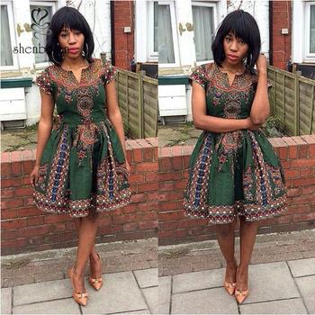 d90b6207eadc M2854 Traditional African Clothing Print Dashiki Dress Short Sleeve Casual  Dress