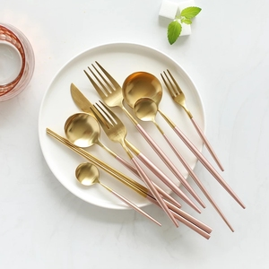 Amazon wholesale new items hot selling Korean silverware 4 pcs hotel restaurant flatware rose gold silver black plated cutlery