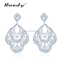 Wedding Zircon Main Stone Indian Jewellery Costume Earrings Chandelier