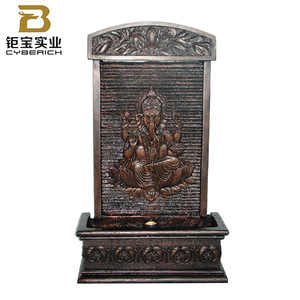 Home decoration Polyresin Ganesha indoor wall waterfall with led