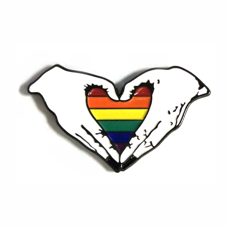 Wholesale LGBT Lesbian Gay Pride Badge Rainbow Flag Custom Enamel lapel Pin