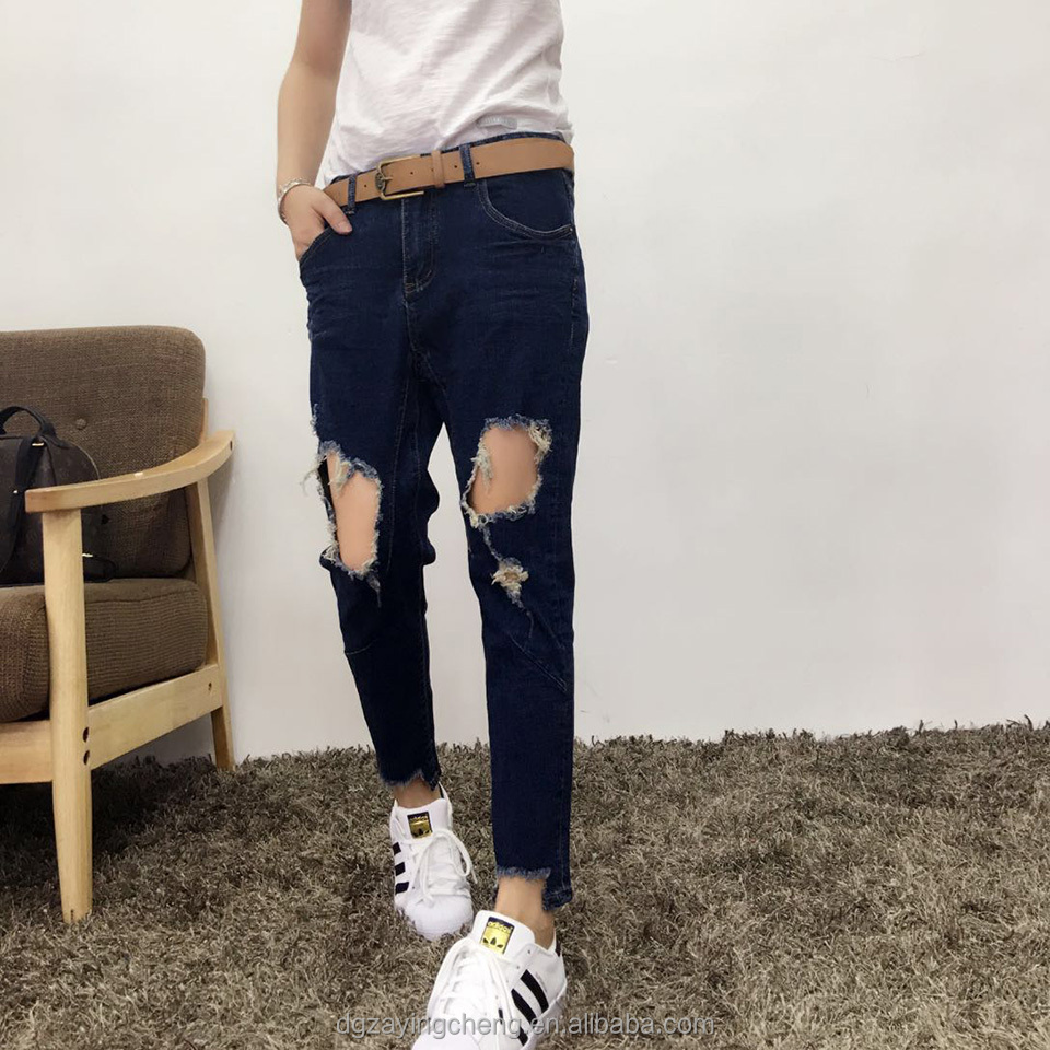 New 2017 skinny low waist straight leg broken holes jeans top design women clothes Jean trousers for women