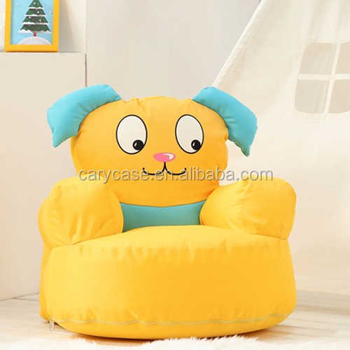 silk screen print yellow cartoon bean bag chair, lovely fancy beanbag sofa seat cushion
