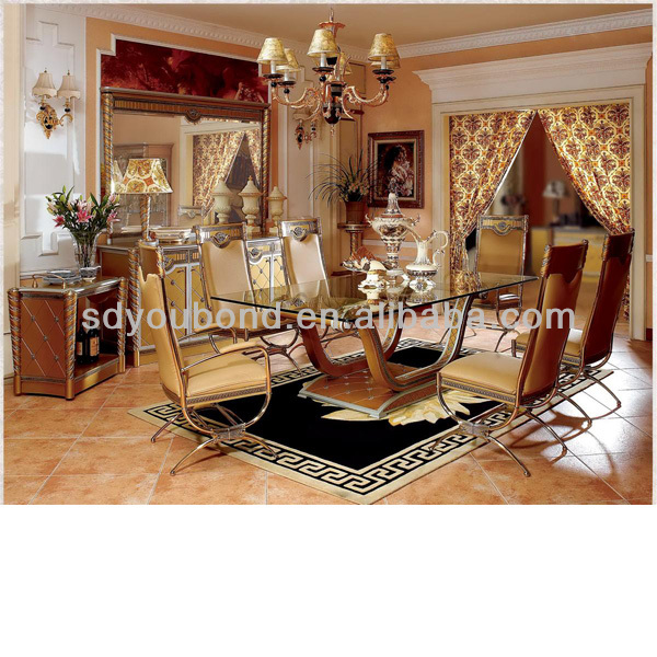 0016 Top End Wood Hnd Carved Italian Dining Table Gold Furniture